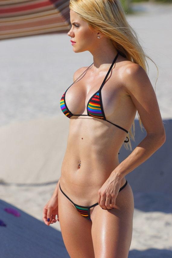 Retro Multicolor Stripes Sexy Micro G String Bikini 2Pc  Etsy-6446
