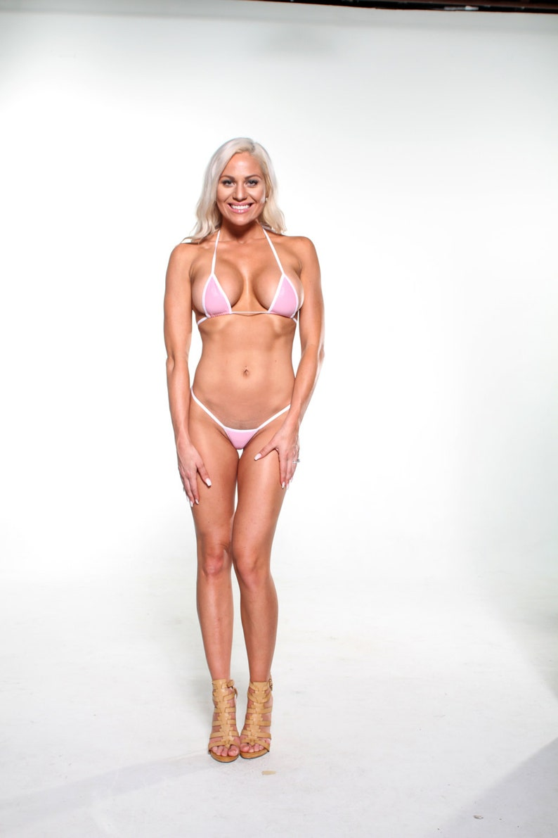 7e6537e876 Solido rosa Sexy Micro G String Bikini 2pc scorrevole | Etsy