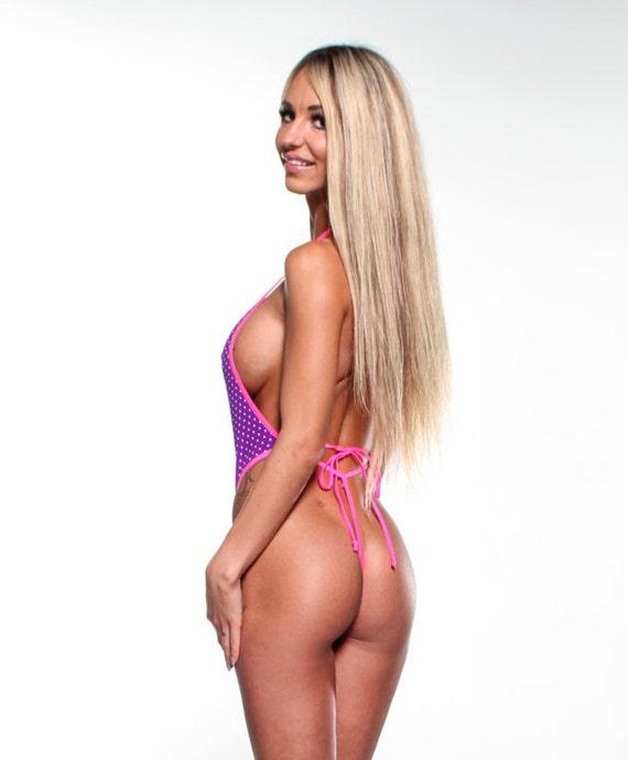 fe93643568536 Purple with White Mini Dots Sexy Monokini Micro G-String Thong | Etsy