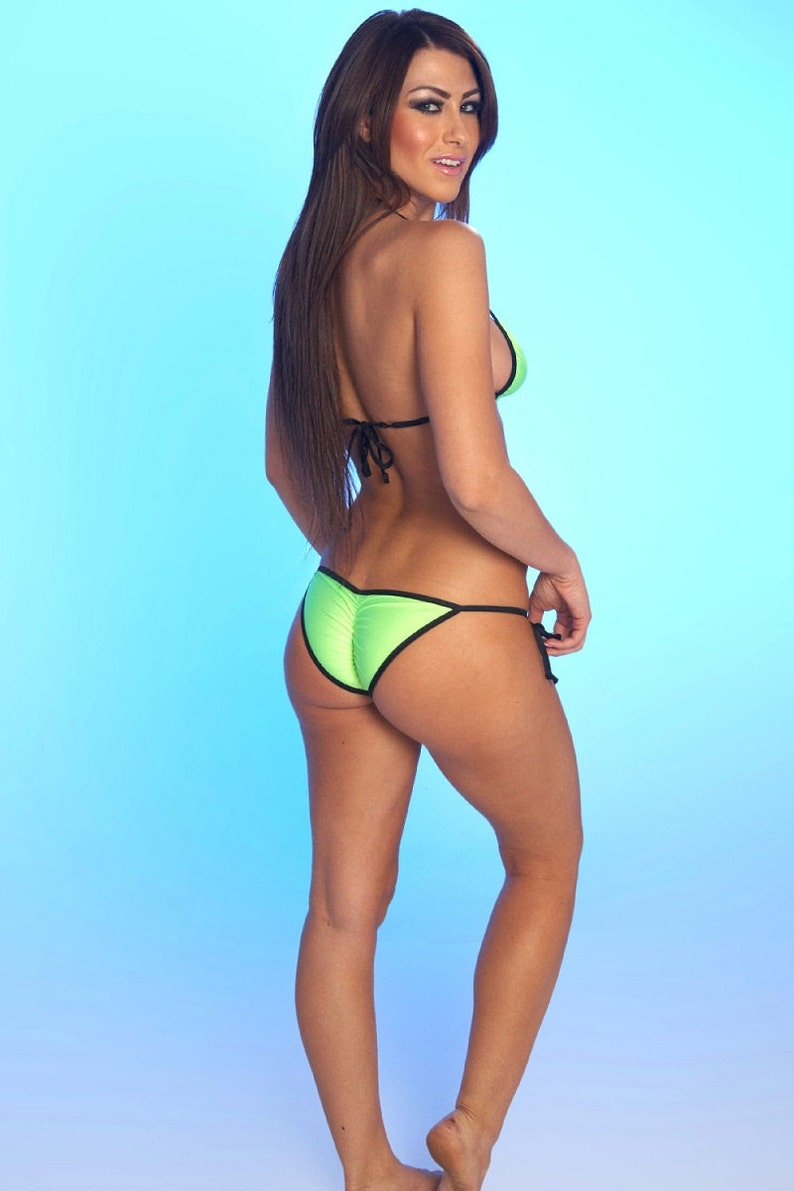 4cde86fc72 Solid Neon Green Sexy Scrunch Butt Bikini 2 Piece Adjustable