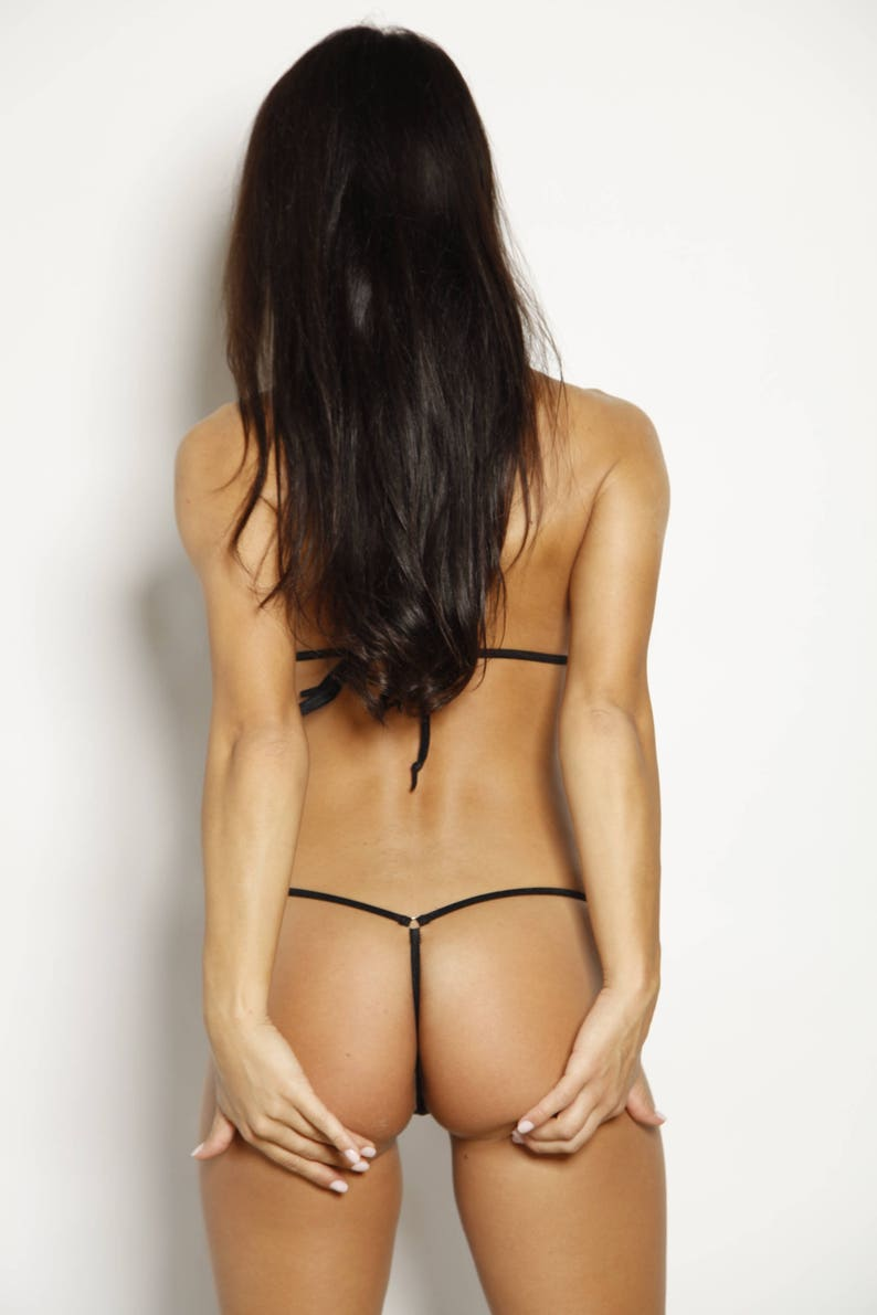 Micro bikini peek a boo wadj top w extended side tie thong
