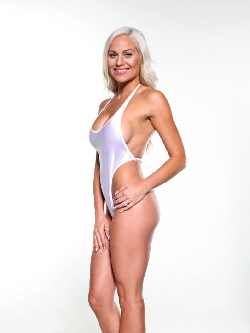 e03fd27c605 Solid White Sexy Monokini Micro G-String Thong One Piece Exotic Extreme  Dance Wear Stripper Minimal Coverage Itsy Bitsy Tiny Mini Swimsuit