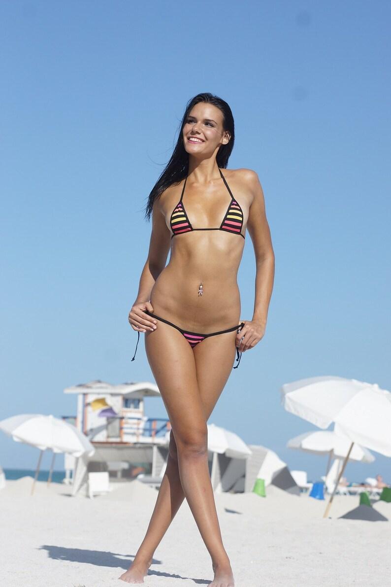 ff103d70d52 Bitsy's Bikinis Miami Stripe Scrunch Butt Bikini 3pc Tie | Etsy