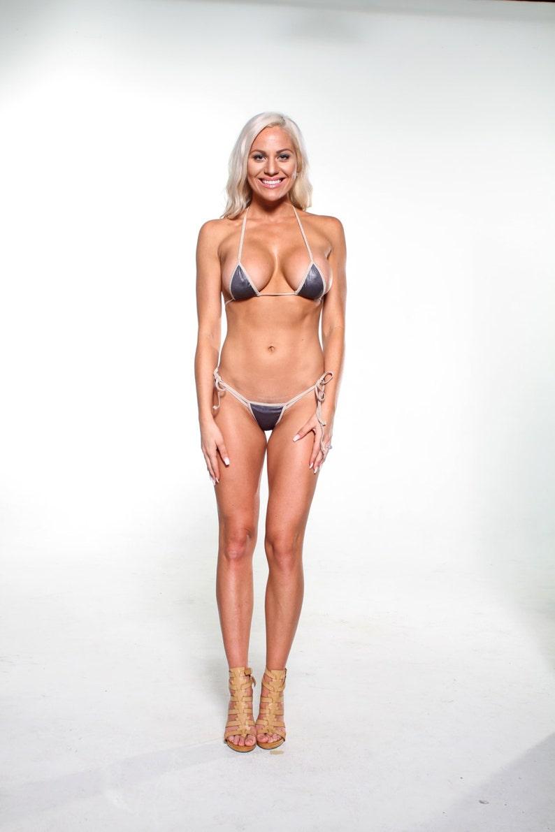 f9703e7669507 Bitsy s Bikinis Solid Dark Gray Scrunch Butt Bikini 3pc