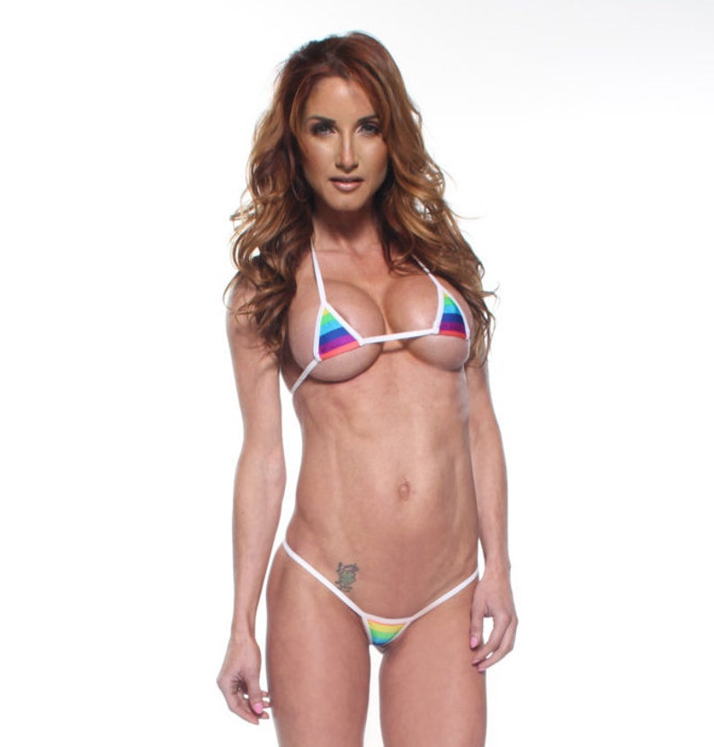 44b1b9cb28e27 Rainbow Stripe Euro Style Micro G-String Bikini 2pc Mini | Etsy