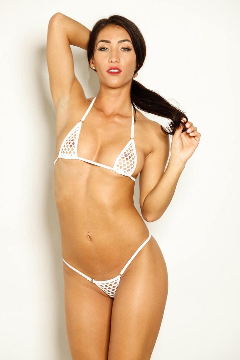 8ea074d97d41c Bitsy s Bikinis Micro Bikini G-String White Athletic