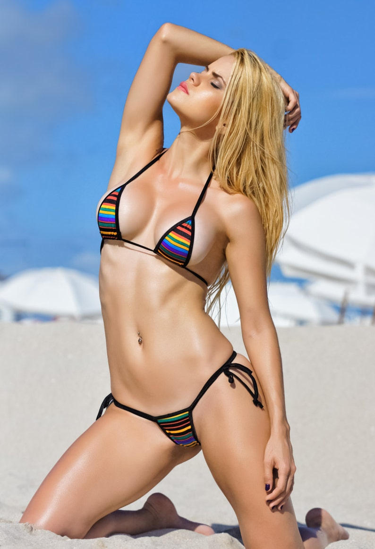 3284882f6e Bitsy s Bikinis Retro Stripe Scrunch Butt Bikini 3pc Tie