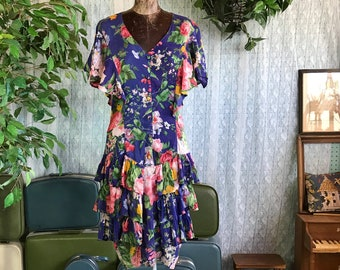 Vintage 70s Blue Floral Rayon Dress Drop Waist Ruffle Skirt BILA of California Made in India  100% Cotton size M
