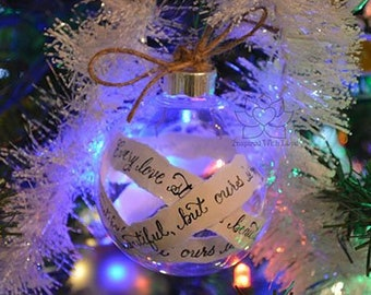 Custom Calligraphy Message Ornament, Personalized Vows Quote Christmas Round Clear Shatterproof Ornament, Cotton Anniversary Rustic Ornament