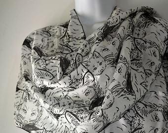 Black White Line Art Foxes Silk Scarf Inspired With Love Minimalism Wildlife Animal Printed Pattern 100% Silk Habotai / Poly Chiffon Scarf