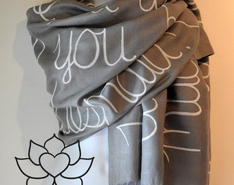 Custom Script Scarf, Personalized Message Bridesmaid Proposal Wedding Gifts for her, Friendship Literary Quote Shawl (Viscose/Acrylic)