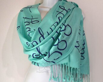 Psalm 138:8 Lord will perfect that which concerneth me Bible Verse Scripture Prayer Shawl, Custom Script Scarf, Gift for mom, Gift for her