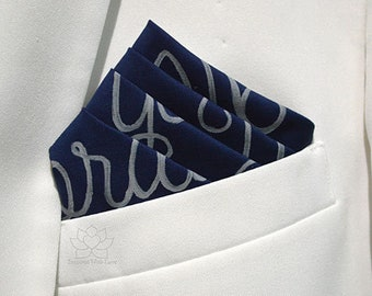 100% Classic Cotton Custom Personalized Message Script Pocket Square - Cotton Anniversary, 2nd Anniversary, Groomsman Proposal, Gift For Him