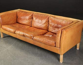 Tolles 3 Sitzer Vintage Ledersofa, Dänisches Mid Century Design,  Cognacfarben