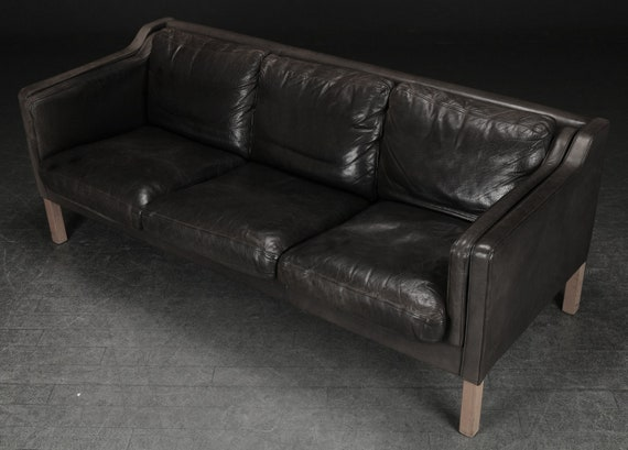 Lovely faded-black coloured 3-seater leather sofa, mid-century, Denmark