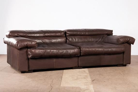 Design classic by B&B Tobias Scarpa, dark brown 3-seater leather sofa/ sofa  elements , Vintage 1970s