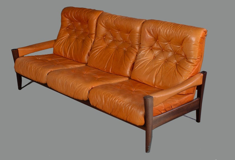 Lovely 3 Seater Vintage Leather Sofa Swedish 70s Design Cognac Coloured