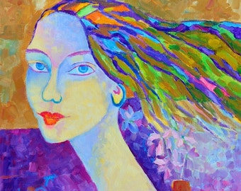 Woman painting Portrait in Modigliani Style ORIGINAL oil portrait face painting Woman portrait original oil painting Colorful portrait art