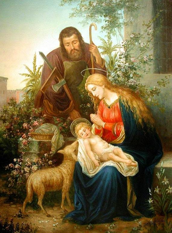 Resultado de imagen de familia catolica vintage  navidad