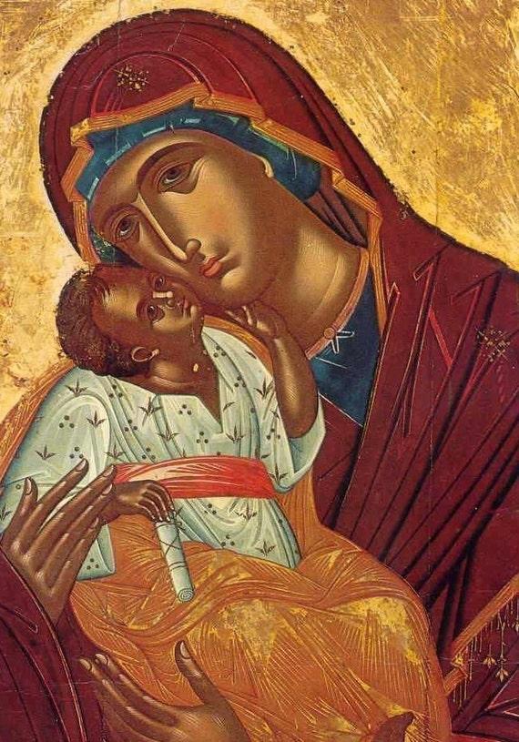 12x16 Eleusa Matki Dama Ikona Katolicki Matka Ozdobny Plakat Religijny Prawosławny ściana święty