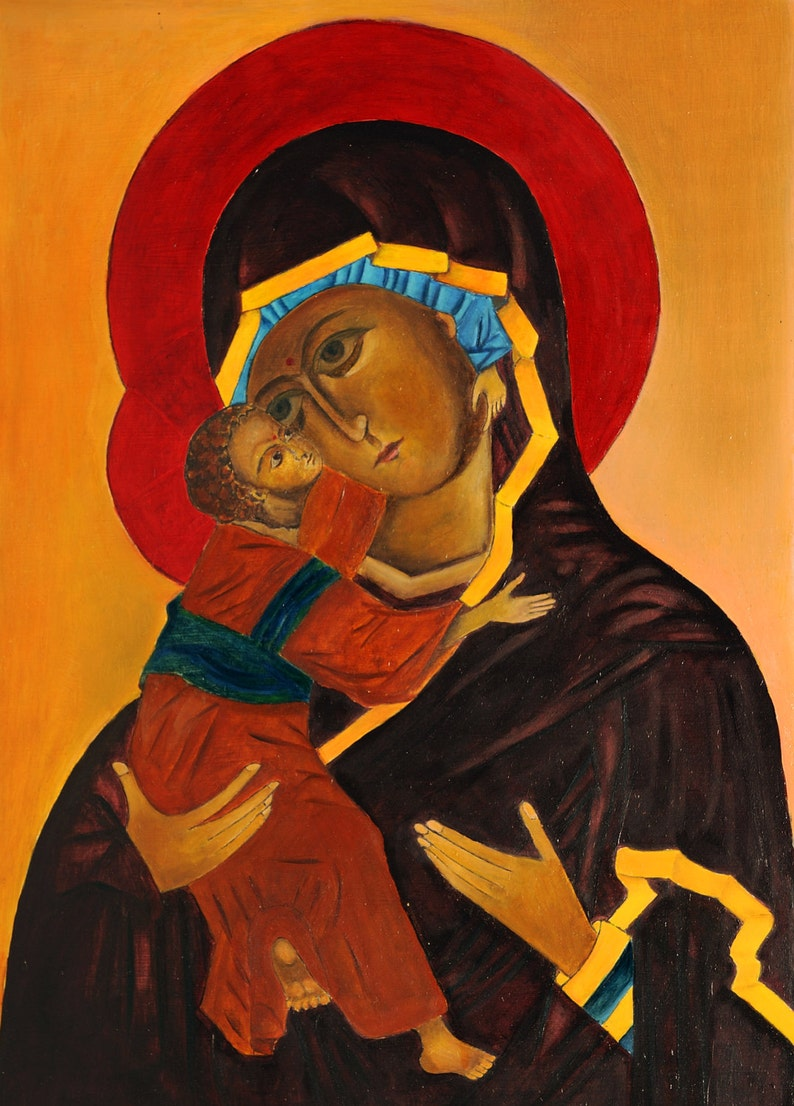 Handpainted Oil painting portraits Our Mother of Perpetual Help Madonna /& child