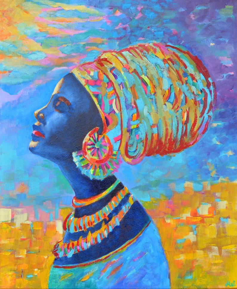Iets Nieuws Zwarte vrouw schilderij Afrikaanse vrouw schilderij in mooie | Etsy @QP59