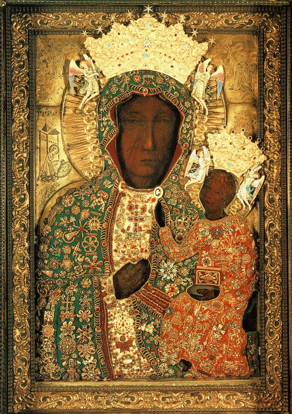 Black Madonna Icon Our Lady Of Czestochowa Madonna And Child