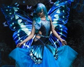 Butterfly Costume, Blue Dance Dress, Adult Halloween Costume, Party Dress