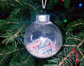 Shred white and blue Christmas ornament