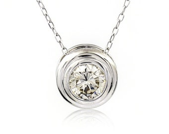 Natural Round Cut Diamond Solitaire Bezel Set Necklace in 14k White Gold .79CT