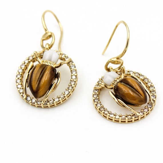 4b7b145077713 Gucci Scarab Hook Earrings in 18k Yellow Gold with Diamonds, Agate and  Tiger Eye