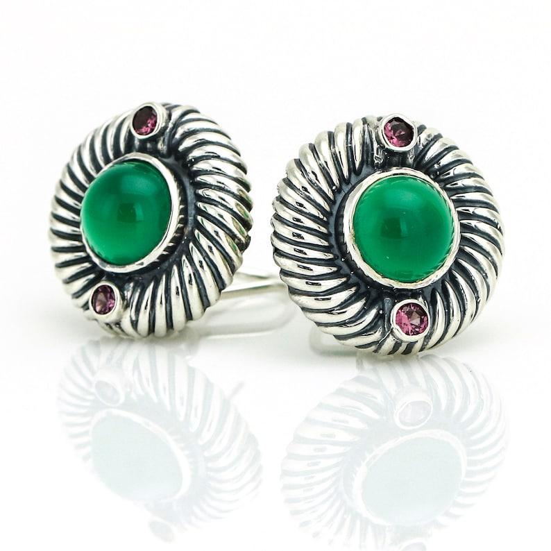 2f60904033926 David Yurman Sterling Silver Renaissance Round Green Onyx Rhodolite Earrings