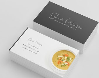 Custom business card etsy business cards simple business card event catering catering card custom business card card for business graphic design script font colourmoves