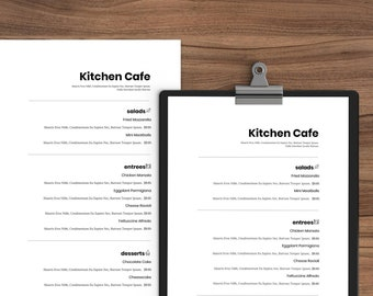 restaurant menu template etsy