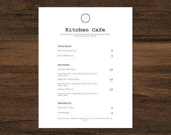 food menu restaurant menu black and white menu 2 column etsy