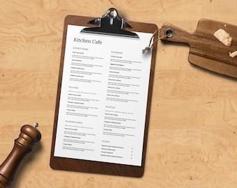 Minimal word menu, restaurant menu template, restaurant menu, menu for café, café menu, simple menu, restaurant menu design, Menu Restaurant