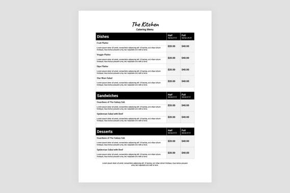 Catering Menü-Vorlage halbe und volle Menü Menü Vorlage MS | Etsy