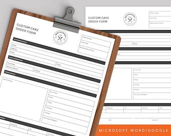 Cake Order Form, Order Form, Order Form Template, bakery order form, Editable Order Form,Custom Order Form, Instant Download