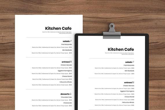 Minimal Word Menu Restaurant Menu Template Restaurant Menu Menu For Café Café Menu Simple Menu Diy Menu Google Docs Instant Download
