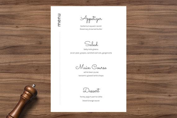 Banquet Menu Restaurant Menu Template Modern Bride Minimal Etsy