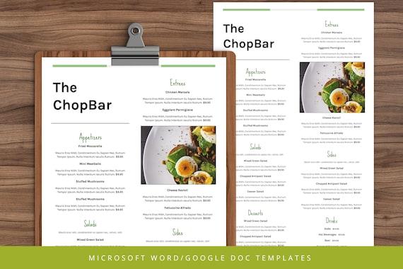 Menu Restaurant Restaurant Menu Template Restaurant Menu Word Menu Google Doc Menu Instant Menu Editable Menu