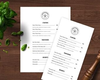 google docs restaurant menu template