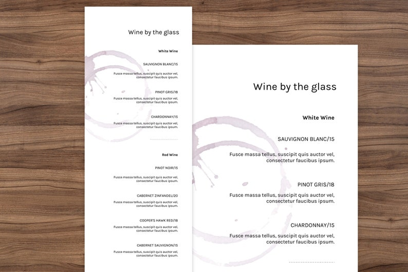Wine Menu minimal menu simple menu wedding menu powerpoint menu restaurant Menu template drink menu template Drink menu