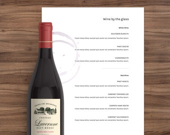Drink menu, drink menu template, Wine Menu, Menu template, menu restaurant, wedding menu, minimal menu, simple menu, powerpoint