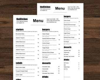 Food truck menu, restaurant menu template, restaurant menu, minimal menu, café menu, simple menu, word menu, google docs, instant download