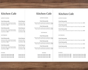 Minimal word menu small, restaurant menu template, restaurant menu, menu for café, simple menu, junior legal size menu, Menu Restaurant