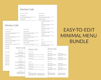 Minimal word menu bundle, restaurant menu template, restaurant menu, café menu, simple menu, restaurant menu design, Menu Restaurant