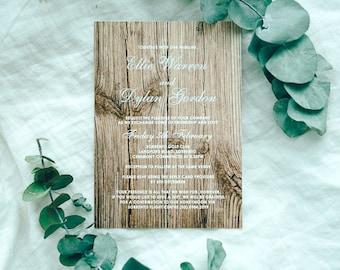 Wooden Texture Print Wedding invite