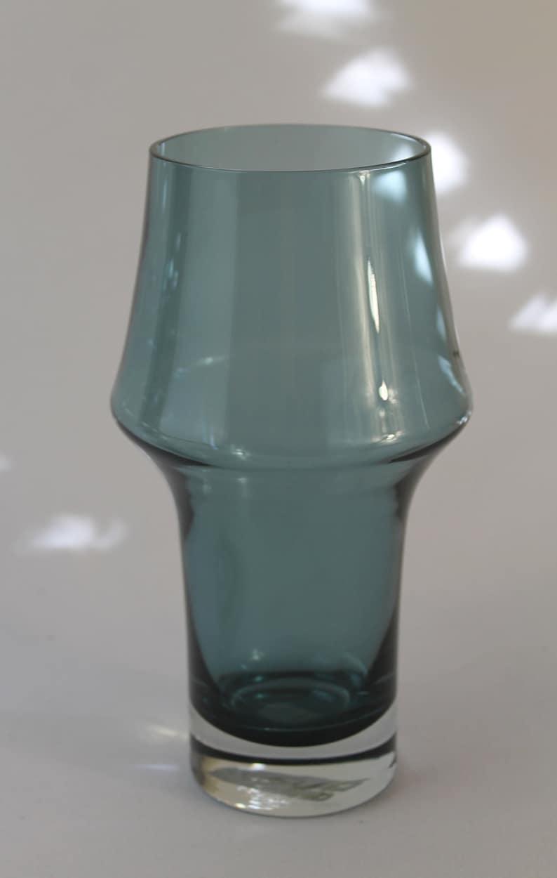 Riihimaki Pottery, Porcelain & Glass Riihimaen Lasi Oy Riihimaki Blue Glass Vase Designed By Tamara Aladin