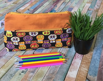 Skull pencil case, Pocket for pencils, Cosmetic Bag, Storage pouch